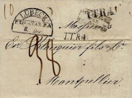1837- Letter From LUBECK To Montpellier ( France )  T.T.R.4 Black ( Two Types )+ ALLEMAGNE PAR STRASBOURG Framed Black - [1] ...-1849 Préphilatélie