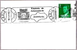 Matasellos De Rodillo ESTATUTO DE AUTONOMIA DE ANDALUCIA. Cadiz, Andalucia,1982 - 1931-Hoy: 2ª República - ... Juan Carlos I
