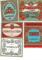 LOT DE 5 ETIQUETTES DIFFFERENTES ILLUSTREES :VERMOUTH - Etiquettes