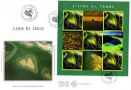 """"""" SAINT VALENTIN / COEUR Y. ARTHUS-B. / AMOUR """" Sur Enveloppe 1er Jour Grand Format Soie 2002 N° YT BF 43 Parf état FDC - 2000-2009"""