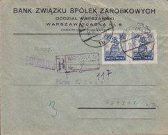 BANK ZWIAZKU SPOLEK ZAROBKOWWYCH Registered Einschreiben Nr. 2 WARSZAWA 1926 Cover Brief SPEYER (Arr.) Germany - 1919-1939 République