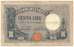 100 LIRE BARBETTI GRANDE B MODIFICATO AZZURRO TESTINA DECRETO 08/08/1926 QBB - [ 1] …-1946 : Koninkrijk