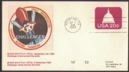 QS226  Commemorative Envelope USA 1983 ( Houston ) - (STS-8) Challenger Space Shuttle In Orbit Around The Earth - FDC & Commemorrativi