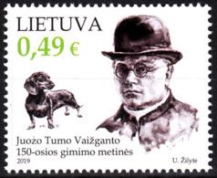 LITHUANIA 2019-11 Vaizgantas - 150. Priest Writer Politician. Dog, MNH - Schriftsteller