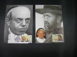 """BELG.1994 2557 & 2558 FDC's Maxicards  : """"  Zaligverklaring Van Pater Damiaan & Mutien-Marie """" - FDC"""