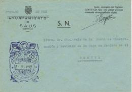 34043. Carta S.N. Franquicia Juzgado Municipal SAUS - Camallera (Gerona) 1959 - 1931-Hoy: 2ª República - ... Juan Carlos I