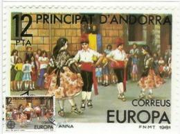 ANDORRA. Festival /danse De L'Esbart Santa Anna,   Carte-maximum. Photos Recto-verso - Carnival