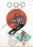 MONACO-JEUX D'HIVER DE SAPPORO-19772-SKI-carte Maximum-JEUX OLYMPIQUES-voir Scan - Winter Sports