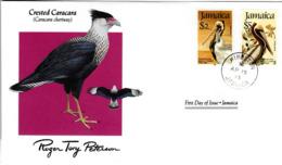 FDC JAMAICA  Birds  /  Oiseaux, JAMAIQUE, Lettre De Première Jour, CARACARA CARACARA - Pelikane