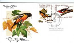 FDC COMOROS  Birds  /  Oiseaux, COMORES, Lettre De Première Jour,  ICTERUS GALBULA - Sperlingsvögel & Singvögel