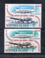 ISOLA NORFOLK - 1968 - 21° Anniversario Qantas Air Service - 2 Valori -  Nuovi - Linguellati * - (FDC17216) - Aerei