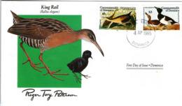 FDC DOMINICA Birds  /  Oiseaux, DOMINIQUE, Lettre De Première Jour,  RALLUS ELEGANS - Entenvögel