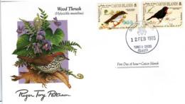 FDC CAICOS ISLANDS  Birds  /  Oiseaux, ÎLES CAICOS, Lettre De Première Jour,  HYLOCICHLA MUSTELINA - Sperlingsvögel & Singvögel