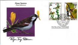 FDC  COOK ISLANDS  Birds  /  Oiseaux,  Lettre De Première Jour,  ÎLES COOK    PASSER DOMESTICUS - Sperlingsvögel & Singvögel