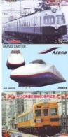 3 Carte Prépayée JAPON Différentes * CHEMIN DE FER (LOT TRAIN A-66) JAPAN * 3 TRAIN DIFFERENT PHONECARDS - Treni