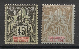 Inde - 1900 - N°Yv. 18 Et 19 - Groupe 45c / 50c - Neuf Luxe ** / MNH / Postfrisch - Indien (1892-1954)