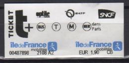 France Paris 2019 1 Ticket Metro Bus Tram RER - Subway