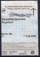 Germany 2019 1 Ticket Berlin Metro - Subway