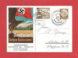 DR Privat Ganzsache Dresden Deutschland Deine Kolonien 1938 - Storia Postale