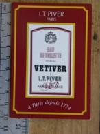 Carte Parfumée - L.T. PIVER - Eau De Toilette VETIVER - Pub Parfumerie Bonnetain  21 Auxonne - Perfume Cards
