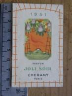 Carte Parfumée - CHERAMY Parfum Joli Soir  - Pub Coiffeur LINAY Les Promenades 61 Vimoutiers, Calendrier 1951 - Perfume Cards