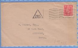 Great Britain - 193? - Triangular Triangle Cancel 285 Addressed To Berks - 1902-1951 (Rois)