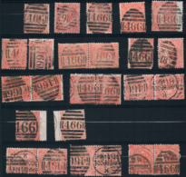 Queen Victoria 1865 4 P Large White Corner Letter 25 Stamps - 1840-1901 (Viktoria)