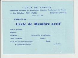 """CARTE DE MEMBRE ACTIF""""CEUX DE VERDUN"""" :/ AVEC VIGNETTES AU VERSO - Documents"""