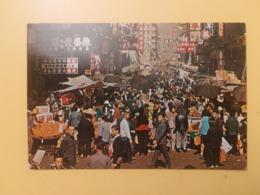 CARTOLINA POSTCARD HONG KONG 1976 MARKET EXISTING IN THE OPEN STREET BOLLO RARO ELISABETTA OBLITERE PAR GERMANY ANNULLO - Cina (Hong Kong)