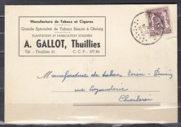 Postkaart Van Thuillies Naar Charleroi Manufacture De Tabacs Et Cigares - 1935-1949 Klein Staatswapen