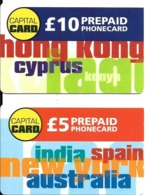 2-CARTES+-PREPAYEE-GB-5£/10£-CAPITAL CARD-Plastic Epais-TBE-RARE - Royaume-Uni