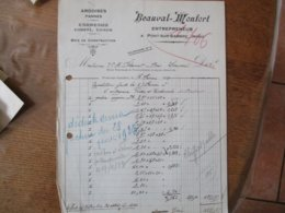 PONT SUR SAMBRE BEAUVAL-MONFORT ENTREPRENEUR FACTURE DU 16 FEVRIER 1923 - France