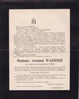 ALOST AALST LAROCHE Elisabeth LEIRENS épouse Armand WASSEIGE  1888-1913 Famille ORBAN De XIVRY - Todesanzeige