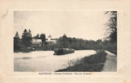 70 Mantoche Chateau St Saint Claude Vue Sur La Saone Bateau Peniche Cpa Cachet 1914 - Autres Communes