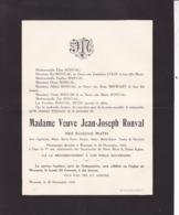 WARNANT Eugénie RUTH Veuve Jean-Joseph RONVAL 81 Ans 1924 Familles BERWART COLIN - Décès