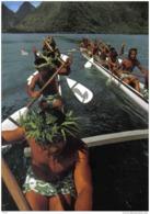 Carte Postale Tahiti  Tautira  Grande Pirogue De Course (16 Hommes) Trés Beau Plan - Tahiti