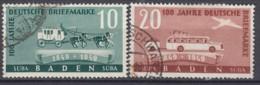 FranzZone  BADEN 54-55, Gestempelt, 100 Jahre Deutsche Briefmarken 1949 - Zone Française