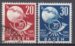 FranzZone  BADEN 56-57, Gestempelt, 75 Jahre UPU 1949 - Französische Zone