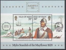 ISLE OF MAN  Block 8, Postfrisch **, Historische Verbindung Mit Amerika, 1986 - Man (Insel)