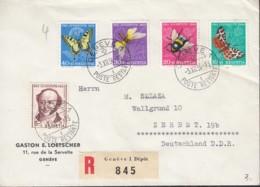 SCHWEIZ 602-606, Satz-R-Brief, Mit Abarten, Pro Juventute 1954: Insekten - Pro Juventute