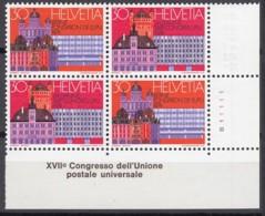 SCHWEIZ 1027-1028, 4erBlock Mit Eckrand R, Postfrisch **, Weltpostkongress 1974 - Se-Tenant