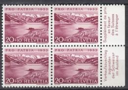 SCHWEIZ MiNr. 582, 4erBlock Mit Abart, Postfrisch **, Pro Patria 1953, Sihlsee - Errors & Oddities