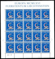 1966 Liechtenstein EUROPA CEPT EUROPE 20 Serie MNH** In Minifoglio Minisheet - 1966
