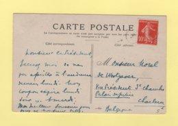 Type Semeuse - Annulation Belge à L'arrivee - Carte Destination Charleroi Belgique - 1877-1920: Semi Modern Period