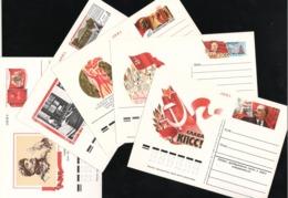 Russia/USSR Postal Stationery 5 Postcards With Original Stamp Soviet Propaganda - Storia Postale