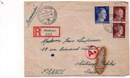 LSC 1943 - Recommandé Et Cachet  NURNBERG 5 - DIE STADT DER REICHSPARTEITAGE Sur Timbres Hitler - Griffe Ae - Lettres & Documents