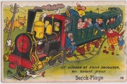 Bv - Carte à Système Complète BERCK PLAGE - En Vitesse Et Sans Secousse En Avant Pour (train à Vapeur) - Berck