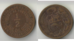 PEROU 1/2 SOL 1948 - Perú