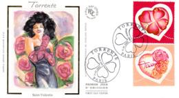""""""" SAINT VALENTIN / COEURS DE TORRENTE / AMOUR """" Sur Enveloppe 1er Jour De 2003. N° YT 3538 3539 FDC - FDC"""