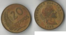 PEROU 20 CENTAVOS 1955 - Perú
